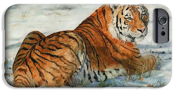 David iPhone Cases - Snow Tiger iPhone Case by David Stribbling