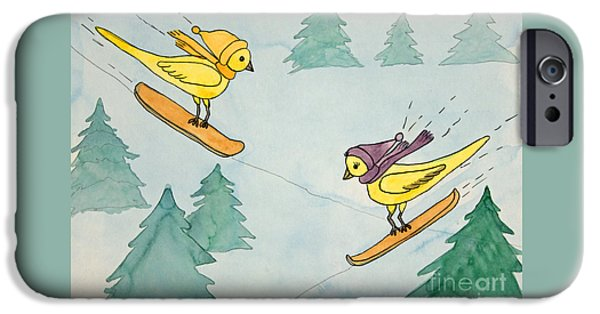 Appleton Art iPhone Cases - Snowboarding Birds iPhone Case by Norma Appleton