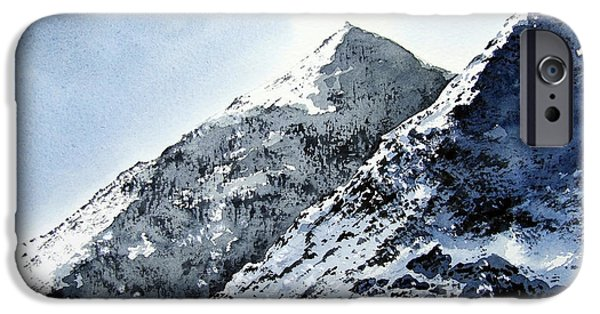 Snow-covered Landscape Paintings iPhone Cases - Snowdon iPhone Case by Paul Dene Marlor