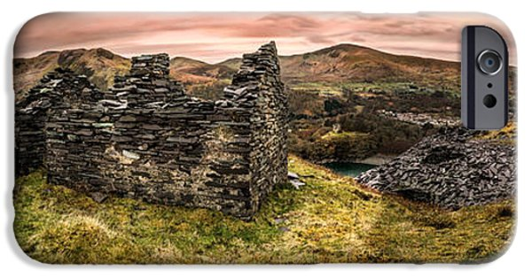 Dilapidated Digital Art iPhone Cases - Snowdonia Ruins Panorama iPhone Case by Adrian Evans
