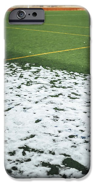 Snowy Day iPhone Cases - Snowdrift On Sport Game At Outdoor Soccer Field iPhone Case by Eduardo Huelin