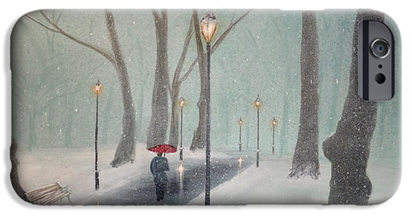 Snowy Night iPhone Cases - Snowfall In The Park iPhone Case by Ken Figurski