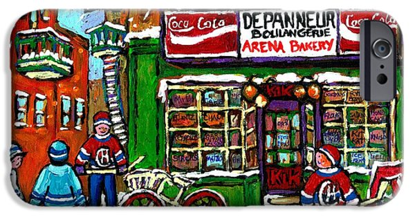 Hockey Paintings iPhone Cases - Snowfall Street Hockey Arena Bakery Montreal Memories Coca Cola Sign Original Winter Scene For Sale iPhone Case by Carole Spandau