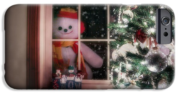 Christmas Eve iPhone Cases - Snowman at the Window iPhone Case by Tom Mc Nemar