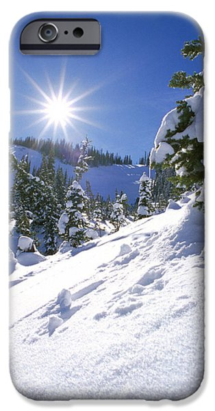 Snowy Day iPhone Cases - Snowscape With Bright Sun iPhone Case by American School