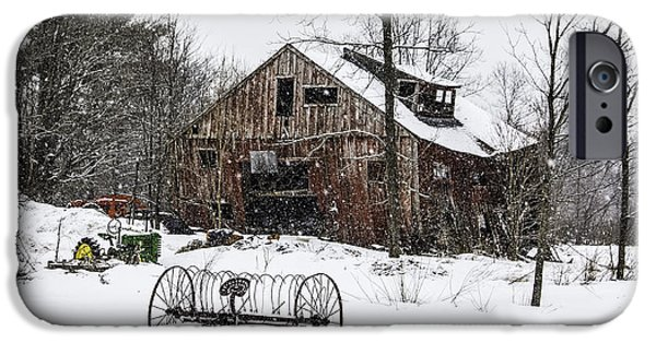 Snow Scene iPhone Cases - Snowy Barn Leaning Towards Sawyer iPhone Case by Betty Denise