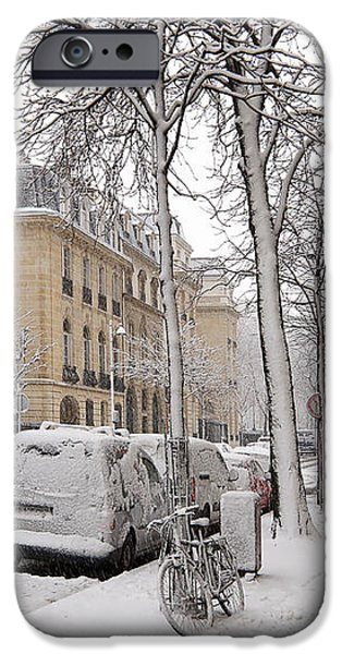 Snowy Day in Paris iPhone Case by Louise Heusinkveld
