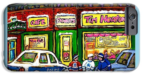 Hockey Paintings iPhone Cases - Snowy Day Original Canadian Hockey Art Paintings For Sale The Donut Shop Hot Coffee At Tim Hortons iPhone Case by Carole Spandau