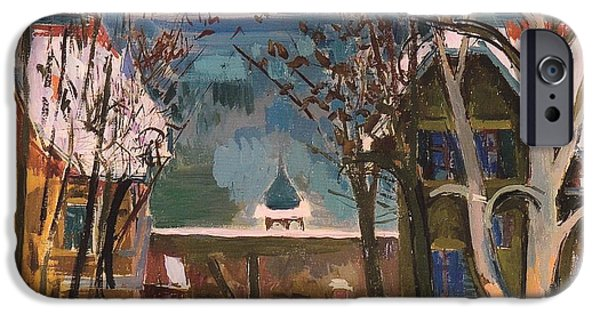 River iPhone Cases - Snowy Houses at Worthersee iPhone Case by Felix Esterl