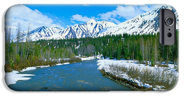Mountain iPhone Cases - Snowy Mountains And Chulitna River iPhone Case by Panoramic Images