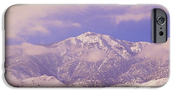 Mountain iPhone Cases - Snowy Mountains And Clouds In Sierra iPhone Case by Panoramic Images