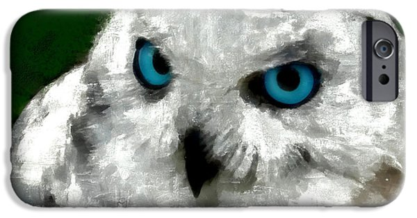 Snowy Night iPhone Cases - Snowy owl iPhone Case by Sergey Lukashin