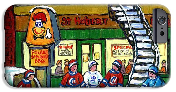 Hockey Paintings iPhone Cases - Snowy Staircase Street Hockey Original Montreal Paintings For Sale St Hubert Bbq  Winter Scene Art iPhone Case by Carole Spandau
