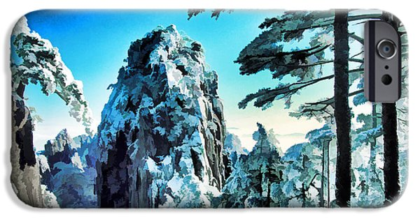 Pines iPhone Cases - Snowy Yellow Mountain iPhone Case by Dennis Cox WorldViews