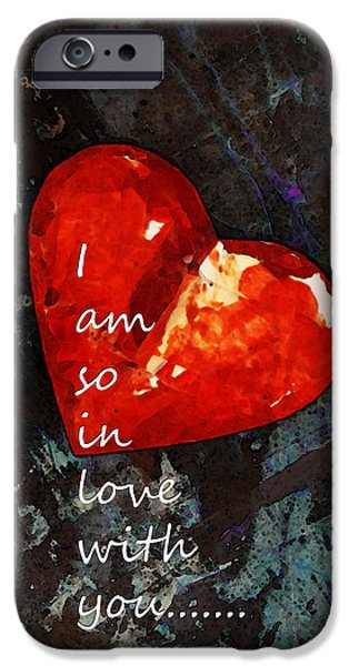 So In Love With You - Romantic Red Heart Painting iPhone Case by Sharon Cummings