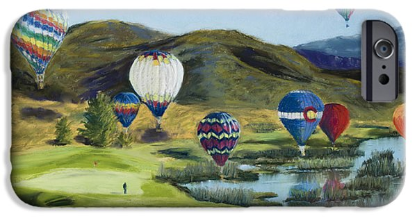 Hot Air Balloon Pastels iPhone Cases - Soaring Over Colorado iPhone Case by Mary Benke