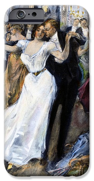 Ball Gown iPhone Cases - SOCIETY BALL, c1900 iPhone Case by Granger