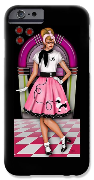 Figure iPhone Cases - Sock Hop iPhone Case by Troy Brown