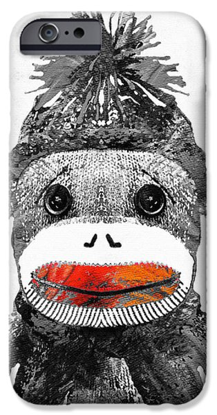 Socks iPhone Cases - Sock Monkey Art In Black White And Red - By Sharon Cummings iPhone Case by Sharon Cummings