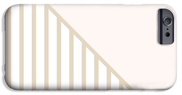 Geometric Shape iPhone Cases - Soft Blush and Champagne Stripe Triangles iPhone Case by Linda Woods