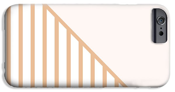 Geometric Shape iPhone Cases - Soft Blush and Coral Stripe Triangles iPhone Case by Linda Woods