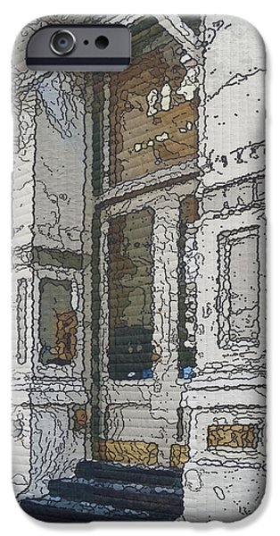 Buildings Mixed Media iPhone Cases - Soft City White Columns iPhone Case by Marilyn Henrion