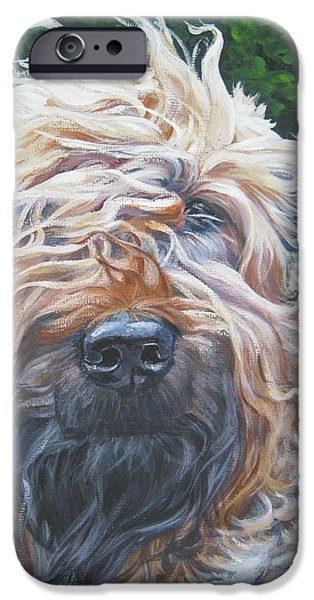 Pup iPhone Cases - Soft Coated Wheaten Terrier iPhone Case by Lee Ann Shepard
