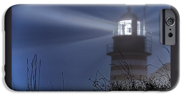 Maine iPhone Cases - Soft Focus Fog - West Quoddy Head Lighthouse iPhone Case by Marty Saccone