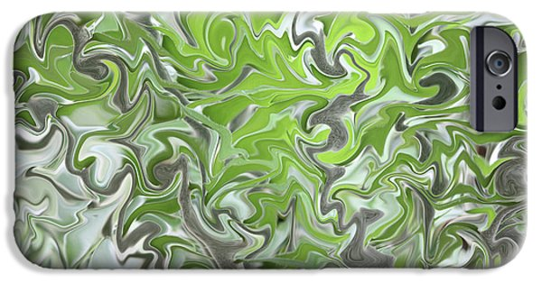 Nature Abstract iPhone Cases - Soft Green and Gray Abstract iPhone Case by Carol Groenen