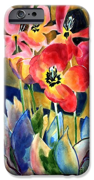 Contemporary Abstract iPhone Cases - Soft Quilted Tulips iPhone Case by Kathy Braud