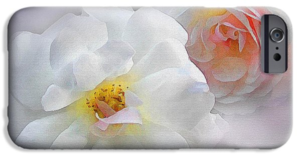 Floral Digital Art Digital Art iPhone Cases - Soft Roses iPhone Case by Robert Foster