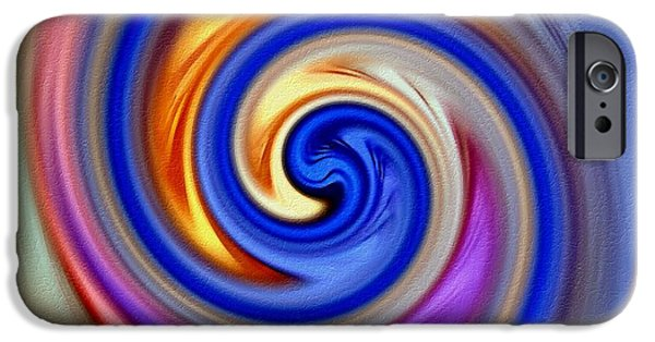 Abstract Digital Paintings iPhone Cases - Soft Swirl With Oils H A iPhone Case by Gert J Rheeders