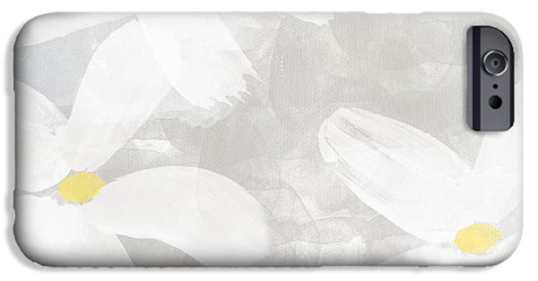 Yellow And Grey Abstract Art iPhone Cases - Soft White Flowers iPhone Case by Linda Woods