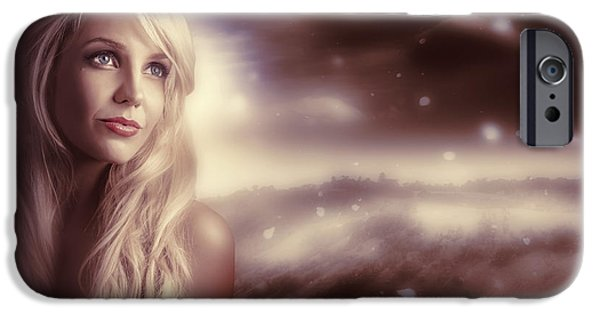 Youthful iPhone Cases - Soft Young Elegant European Woman In Winter Snow  iPhone Case by Ryan Jorgensen