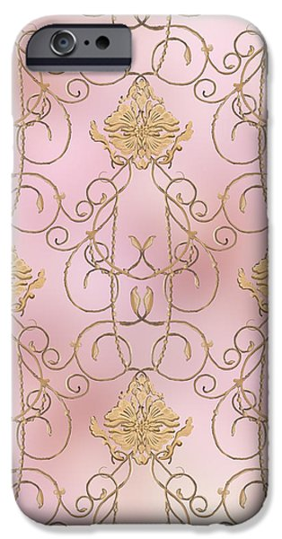 Timeless Design Paintings iPhone Cases - Softly Summer - French Parisian Apartment Damask Lilac iPhone Case by Audrey Jeanne Roberts