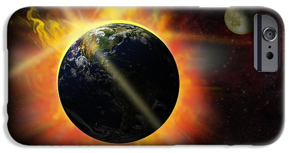 Solar Eclipse Digital iPhone Cases - Solar Flare iPhone Case by Michal Boubin