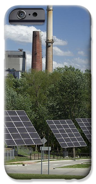 Solar Power iPhone Cases - Solar vs. Coal Energy iPhone Case by Garry McMichael