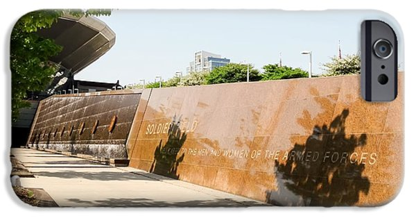 Soldier Field iPhone Cases - Soldier Field Memorial Water Wall Chicago iPhone Case by Cynthia Woods