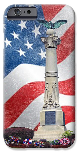July 4th iPhone Cases - Soldier War Monument iPhone Case by Linda Troski