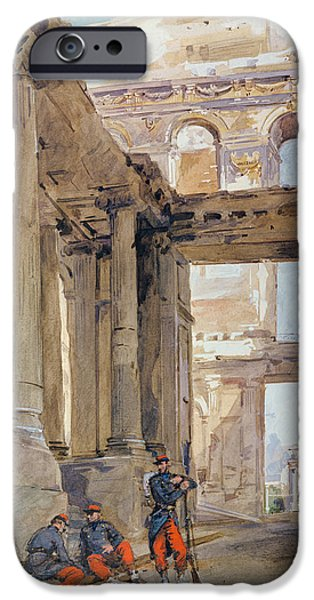 Ruin Drawings iPhone Cases - Soldiers in the Ruins of the Tuileries iPhone Case by Isidore Pils