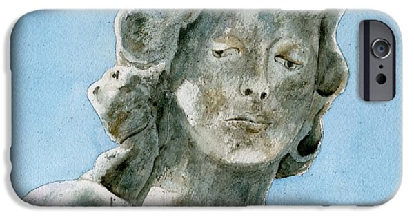 Statue Portrait Paintings iPhone Cases - Solitude. A cemetery statue iPhone Case by Brenda Owen