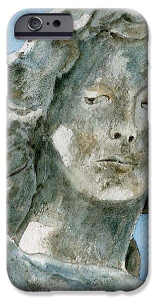 Solitude. A cemetery statue iPhone Case by Brenda Owen