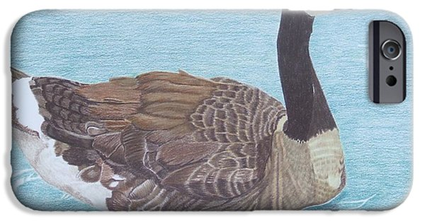 Canadian Geese Paintings iPhone Cases - Solitude iPhone Case by Anita Putman