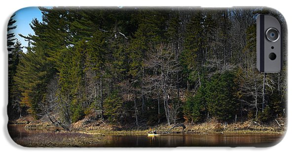 Canoe iPhone Cases - Solitude on the Moose River iPhone Case by David Patterson