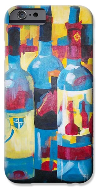 Wine Bottles iPhone Cases - Solo Arte  iPhone Case by Barbara Moak