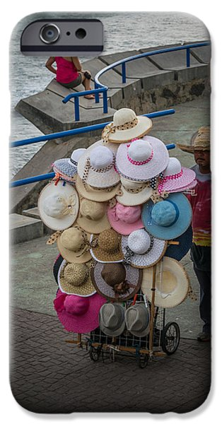 Beach Landscape iPhone Cases - Sombreros Vendor iPhone Case by Totto Ponce