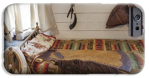 Cowboy Gear iPhone Cases - Some genuine Old West articles displayed inside a bunkhouse  iPhone Case by Carol M Highsmith