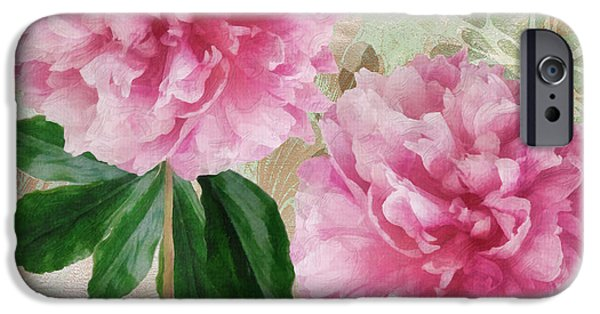 Pinks And Purple Petals iPhone Cases - Sonata Pink Peony i iPhone Case by Mindy Sommers