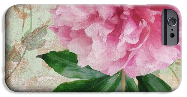 Pinks And Purple Petals iPhone Cases - Sonata Pink Peony II iPhone Case by Mindy Sommers