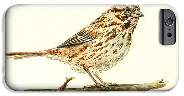 Small Paintings iPhone Cases - Song Sparrow iPhone Case by Juan  Bosco